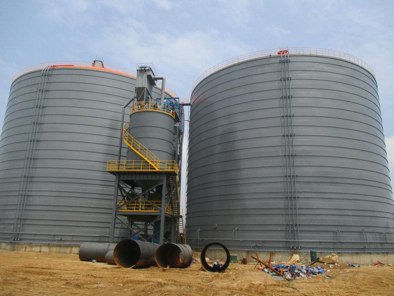 沂州水泥两座3万立方粉煤灰钢板仓
